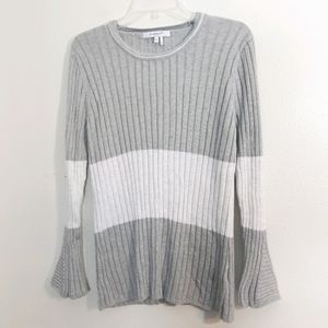 Foxcroft ribbed striped bell sleeve sweater XL